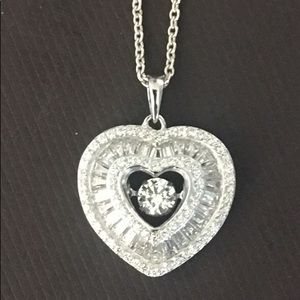 Jewelry - Sterling silver and diamond heart necklace
